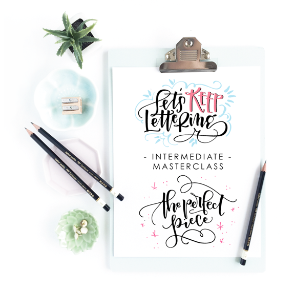 Take your hand lettering to the next level with this online Intermediate Masterclass course combo from amandaarneill.com