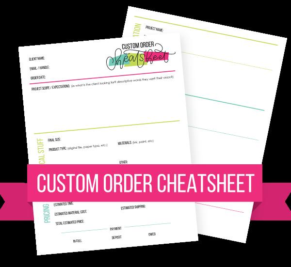 Custom hand lettering order cheatsheet by Amanda Arneill