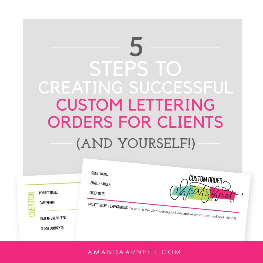 Creating Custom Lettering Order Cheatsheet Worksheet