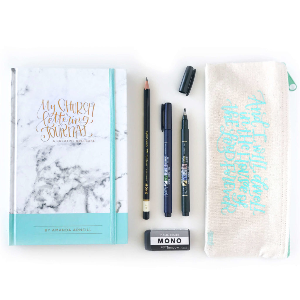 My Church Lettering Journal and Church Lettering Pencil Case Set by Amanda Arneill