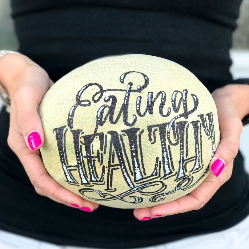 Hand Lettered | Eating Healthy Cantaloupe by Amanda Arneill