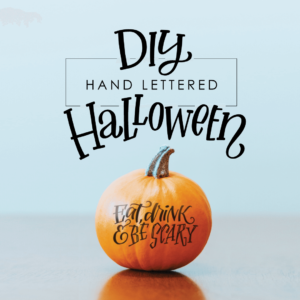 Eat, Drink and Be Scary hand lettered pumpkin