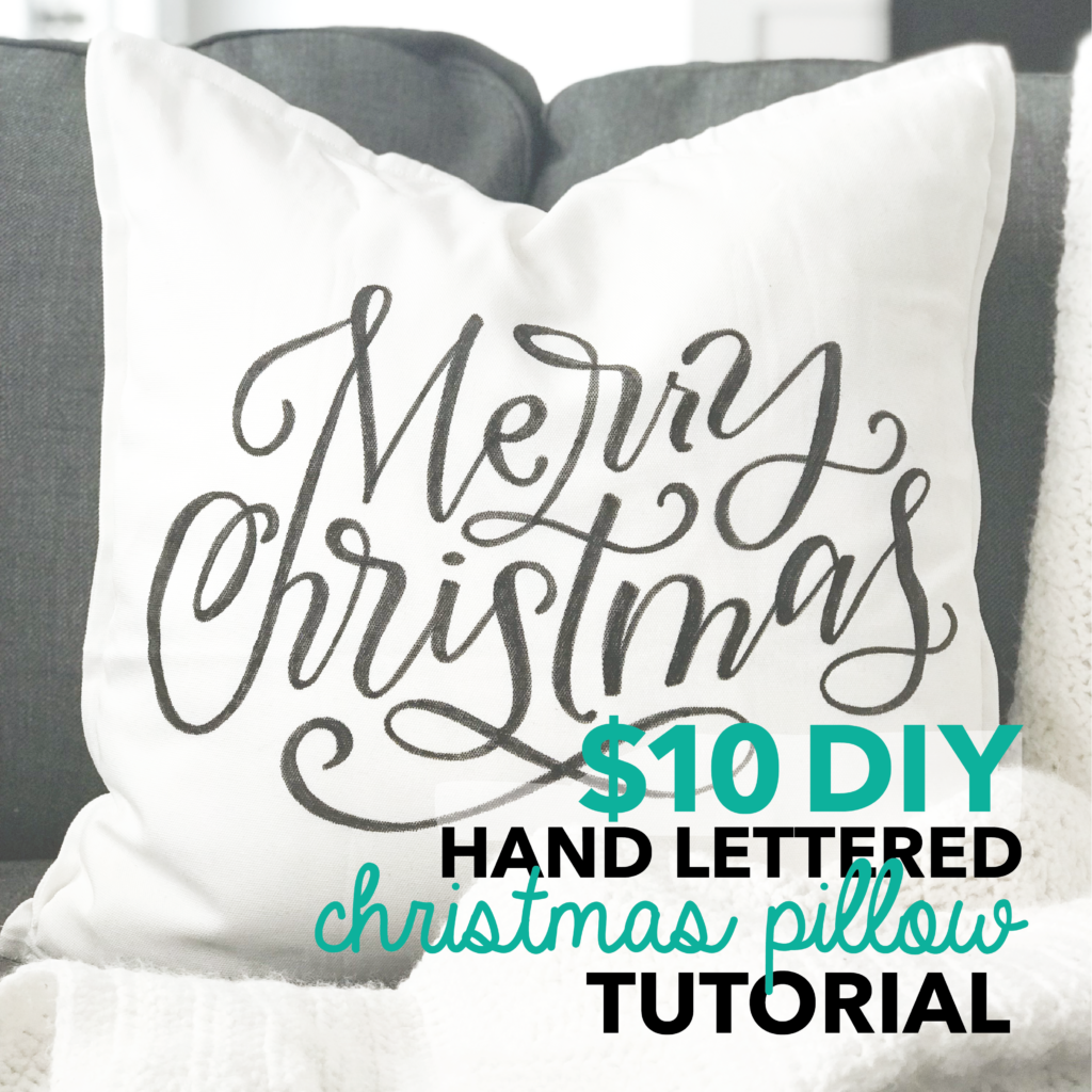 DIY Tutorial for making your own hand lettered Christmas throw pillow with four free printable tracers at amandaarneill.com