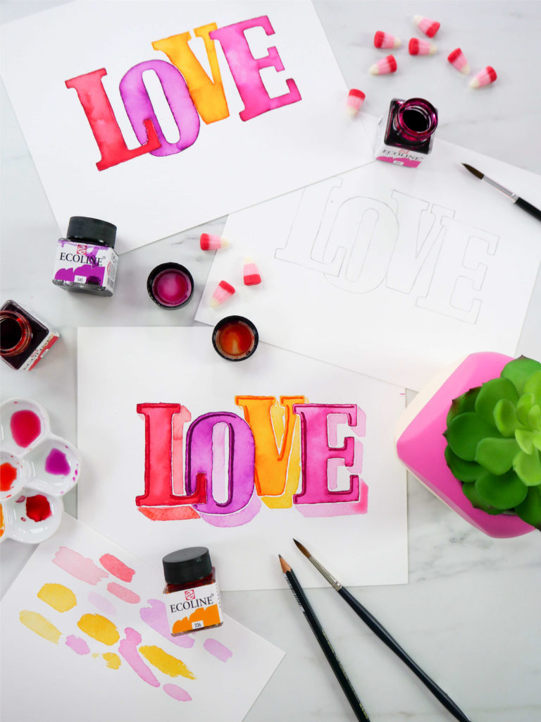 "Learn how to create this ""LOVE"" watercolor piece using Serif lettering. Find the full blog post and free printable tracer for the design on amandaarneill.com"
