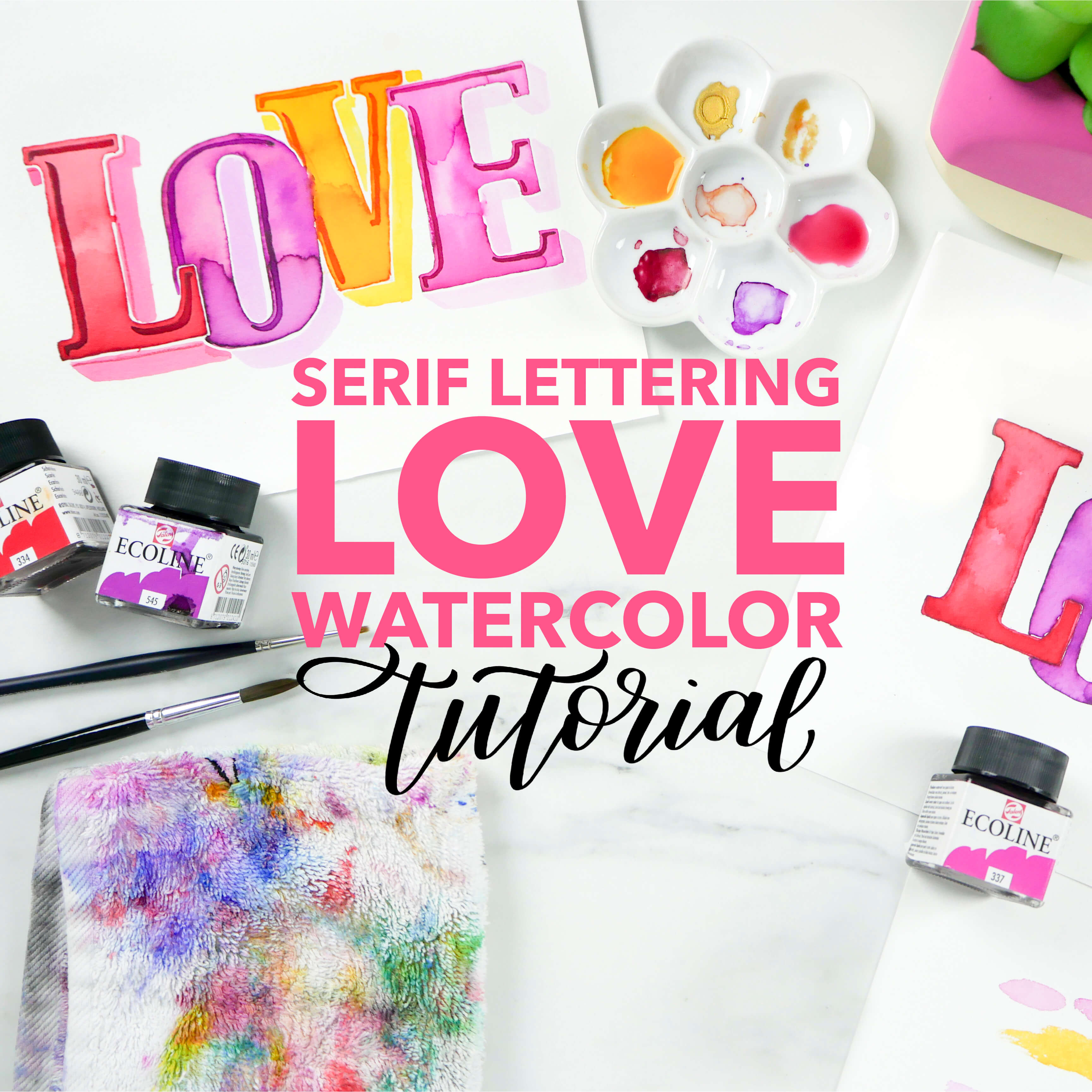 DIY Valentines Day Serif Lettering LOVE Watercolor Tutorial With Free Traceable Design