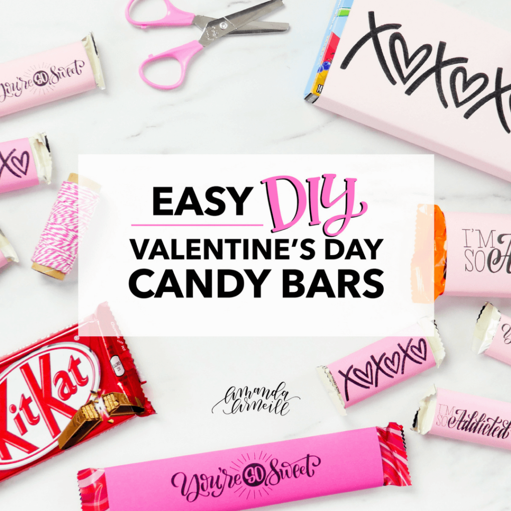 Customize your Valentine's favorite candy bar with this easy DIY tutorial and free printable candy bar covers (of all sizes) from amandaarneill.com