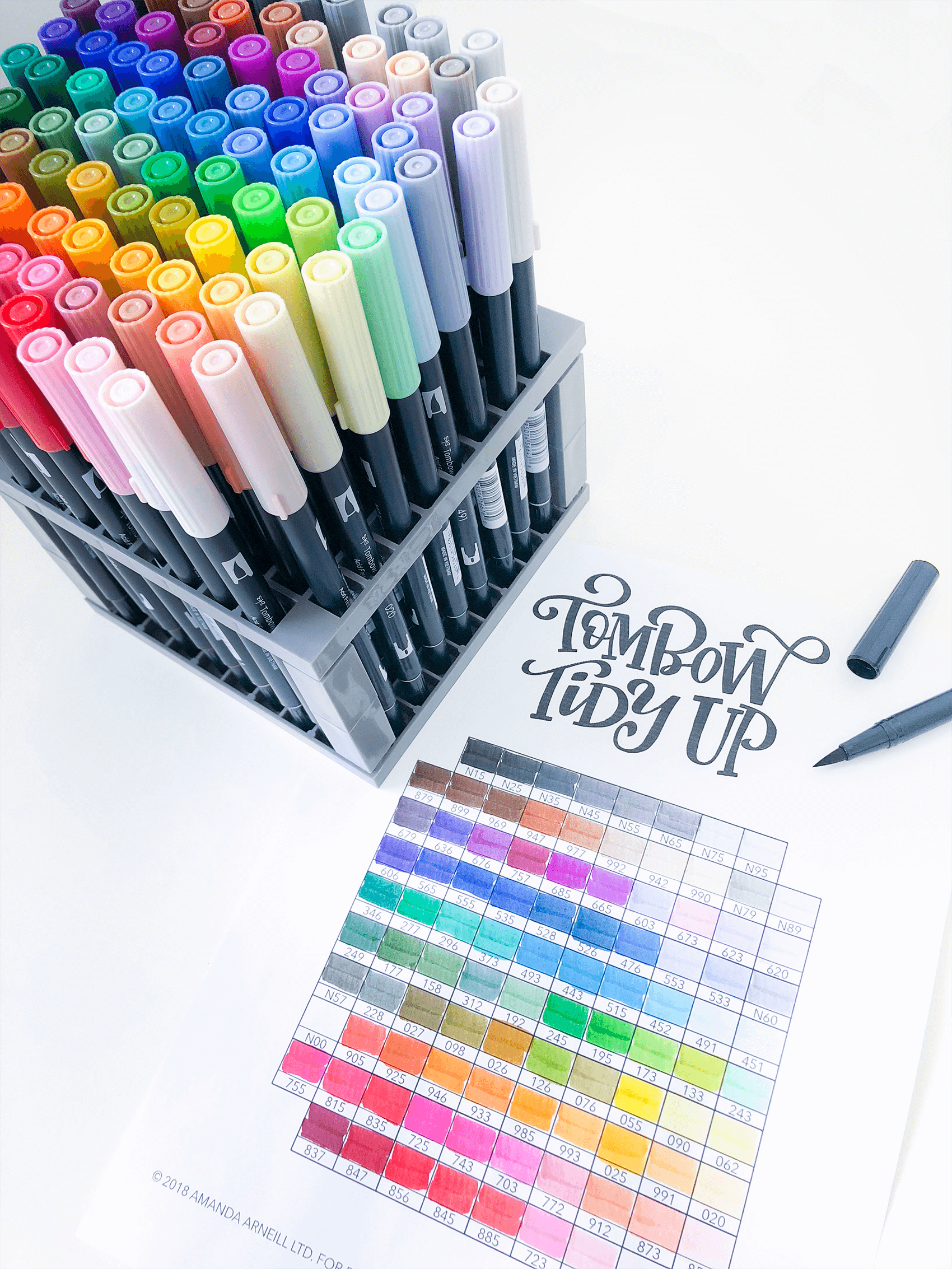 graphic relating to Free Printable Color Chart referred to as Tombow Tidy-Up: Printable Tombow Twin Brush Pen Organizer