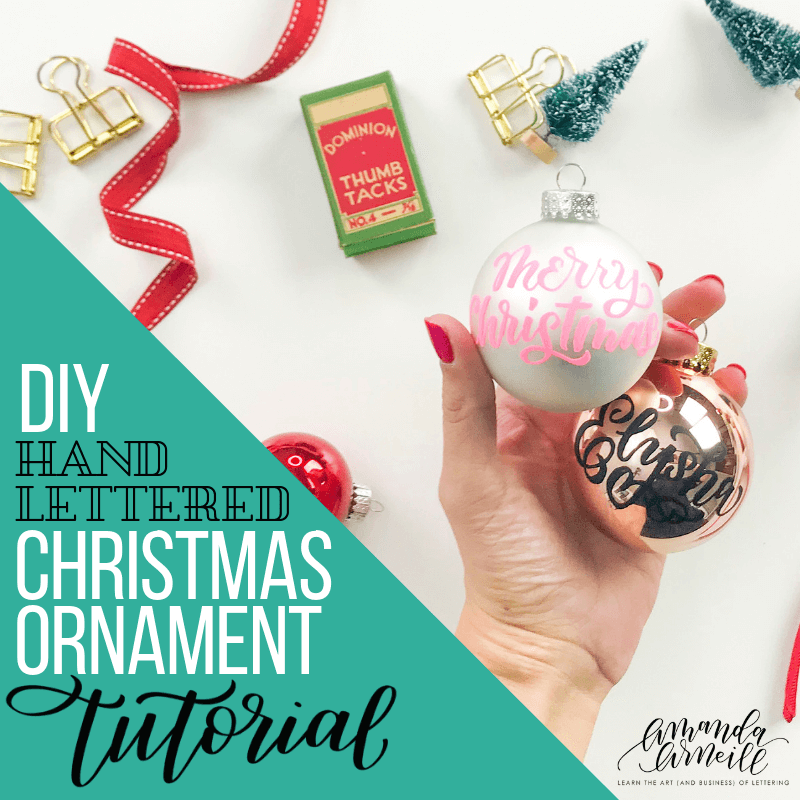 Find all of the tips, tricks and best pens to use to create your own, personalized, hand lettered Christmas ornaments with this free video tutorial and fully linked supply list from Amanda Arneill of amandaarneill.com