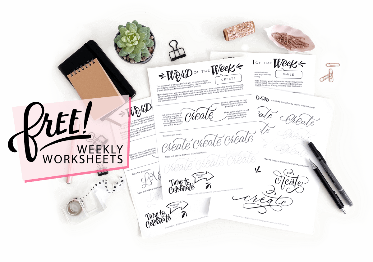 Free Hand Lettering Worksheets